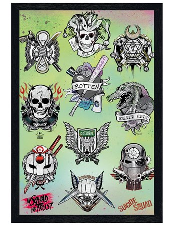Black Wooden Framed Tattoo Parlor - Suicide Squad