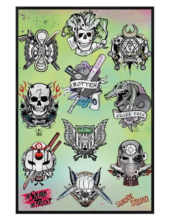 Framed Gloss Black Framed Tattoo Parlor - Suicide Squad