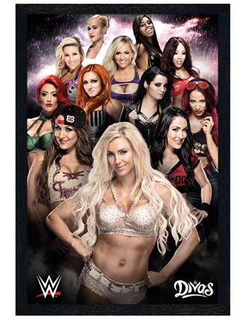 Black Wooden Framed Divas - WWE