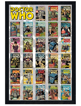 Black Wooden Framed Comics Compilation - Doctor Who