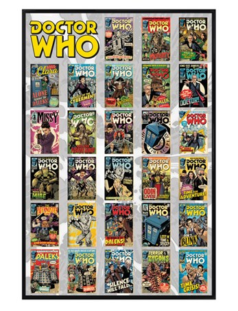 Gloss Black Framed Comics Compilation - Doctor Who