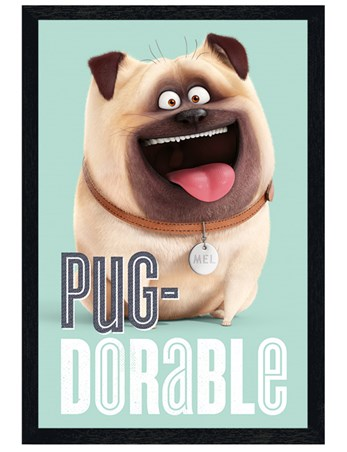 Black Wooden Framed Pug-dorable - The Secret Life Of Pets