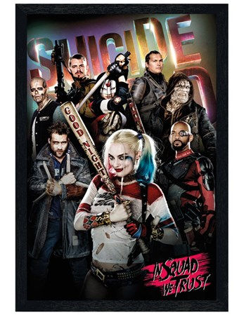 Black Wooden Framed In Squad We Trust - Suicide Squad