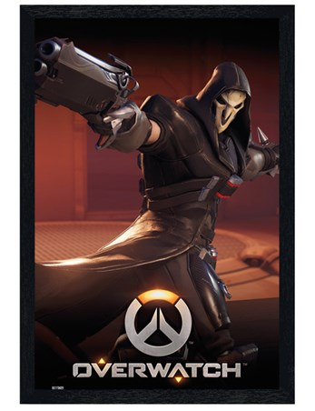 Black Wooden Framed Beware The Reaper - Overwatch