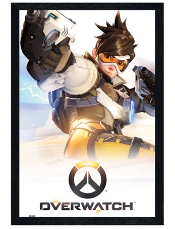 Black Wooden Framed Game Key Art - Overwatch