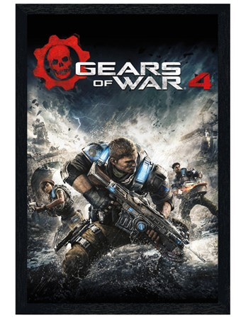 Black Wooden Framed Game Cover - Gears Of War 4