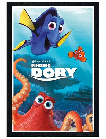 Black Wooden Framed Nautical Characters - Finding Dory