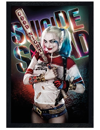 Black Wooden Framed Harley Quinn Good Night - Suicide Squad
