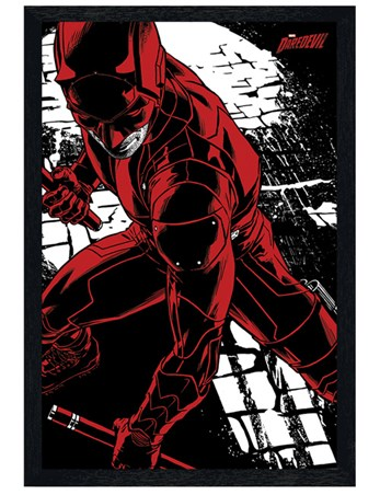 Black Wooden Framed Comic Fight Stance - Daredevil