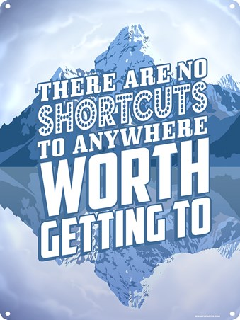 Framed Road To Success - There Are No Shortcuts