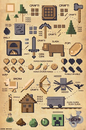 Framed Build! Craft! Mine! Boom! Pictograph - Minecraft
