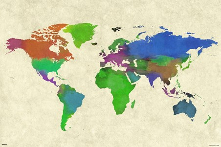 Colourful Continents - World Map Watercolor