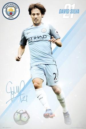Framed David Silva 16/17 - Manchester City