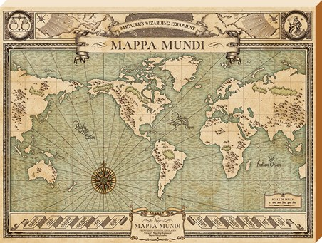 Framed Mappa Mundi - Fantastic Beasts