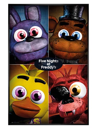 Gloss Black Framed The Fazbear Gang - Five Nights At Freddy's Quad