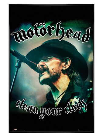Framed Gloss Black Framed Lemmy Kilmister Clean Your Clock - Motörhead