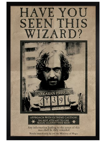 Black Wooden Framed Wanted Sirius Black - Harry Potter