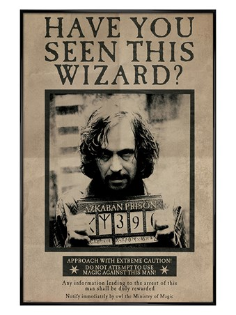 Gloss Black Framed Wanted Sirius Black - Harry Potter