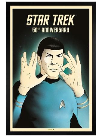 Black Wooden Framed Spock 5-0 50th Anniversary - Star Trek