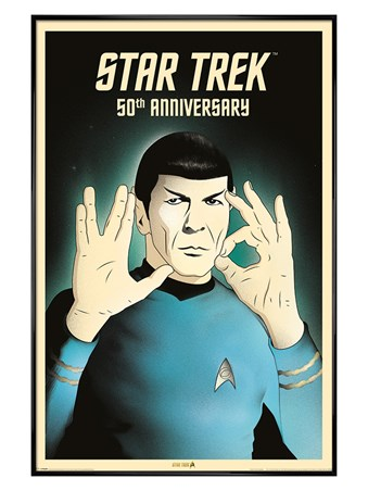 Gloss Black Framed Spock 5-0 50th Anniversary - Star Trek