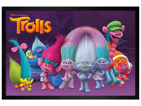 Meet the Trolls Black Wooden Framed - Trolls Characters