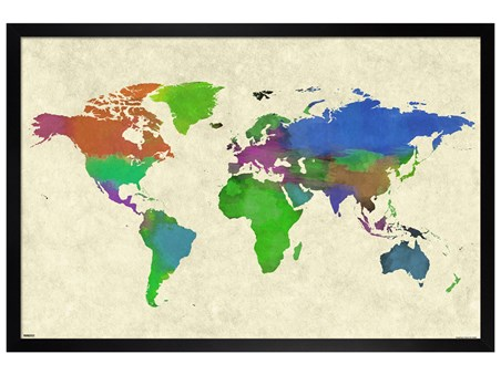 Black Wooden Framed Colourful Continents - World Map Watercolor