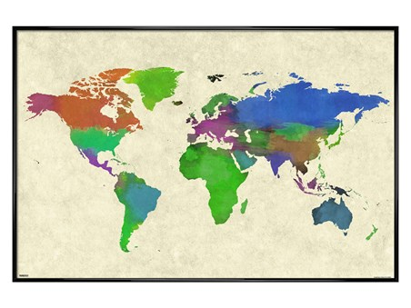 Gloss Black Framed Watewrcolour - World Map