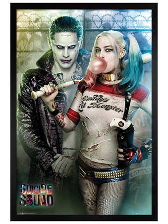 Black Wooden Framed Joker and Harley Quinn - Suicide Squad