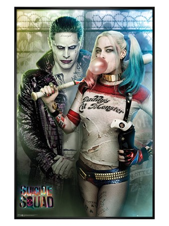Gloss Black Framed Joker and Harley Quinn - Suicide Squad