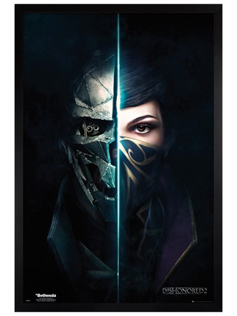 Framed Black Wooden Framed Split Faces - Dishonored 2
