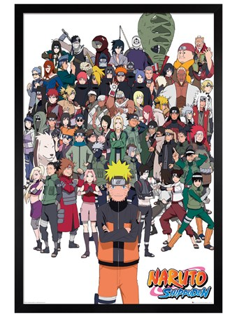 Black Wooden Framed Shippuden Group - Naruto