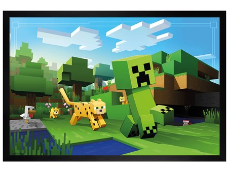Framed Black Wooden Framed Run Block, Run - Minecraft Ocelot Chase