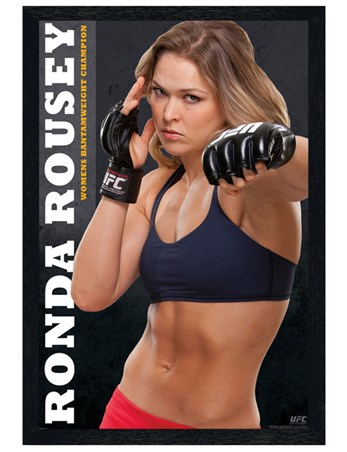 Black Wooden Framed Ronda Rousey - UFC