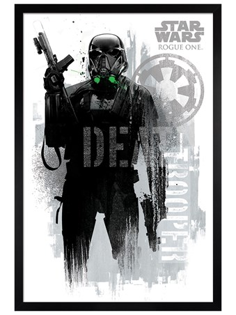 Black Wooden Framed Death Trooper Grunge - Star Wars Rogue One