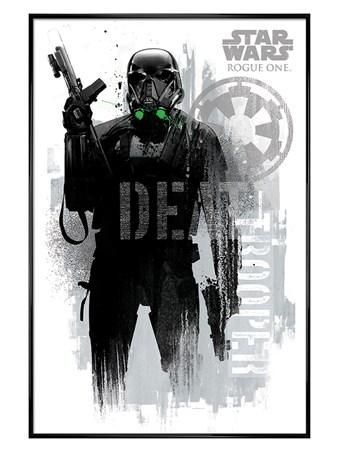 Gloss Black Framed Death Trooper Grunge - Star Wars Rogue One