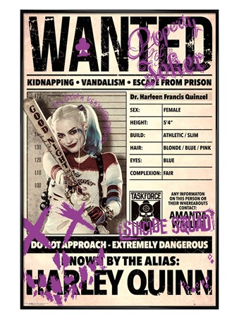 Framed Gloss Black Framed Harley Wanted - Suicide Squad