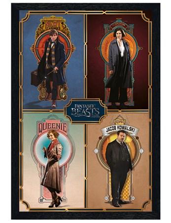 Black Wooden Framed Framed Cast - Fantastic Beasts & Where To Find Them