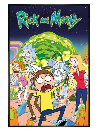Gloss Black Framed An Animated Group Shot - Rick and Morty