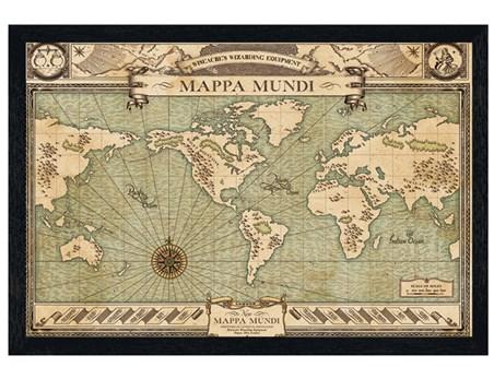 Black Wooden Framed Mappa Mundi - Fantastic Beasts