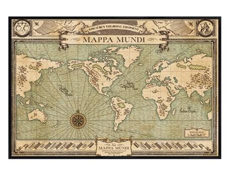 Gloss Black Framed Mappa Mundi - Fantastic Beasts