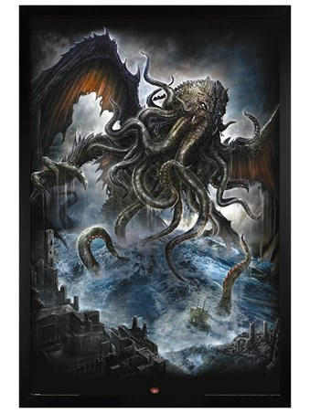 Black Wooden Framed Cthulhu - Spiral