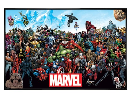 Gloss Black Framed A crazy World! - Marvel Universe