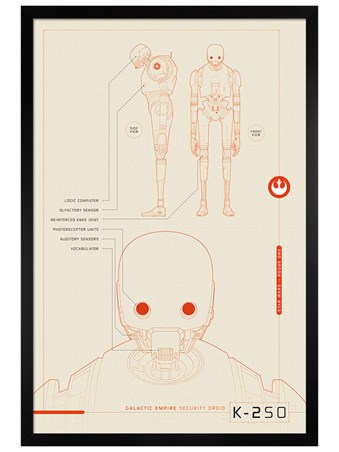 Black Wooden Framed K-2SO Plans - Star Wars Rogue One