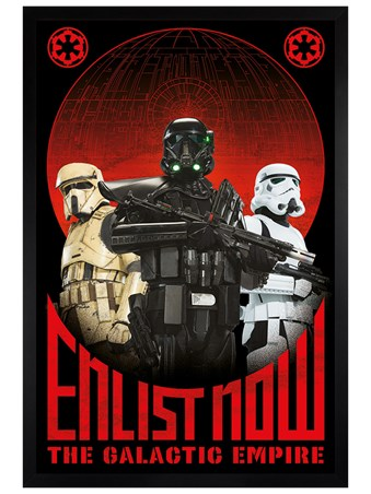 Black Wooden Framed Enlist Now - Star Wars Rogue One