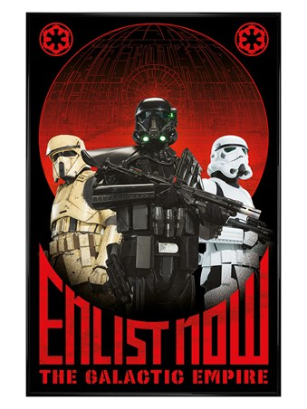 Gloss Black Framed Enlist Now - Star Wars Rogue One
