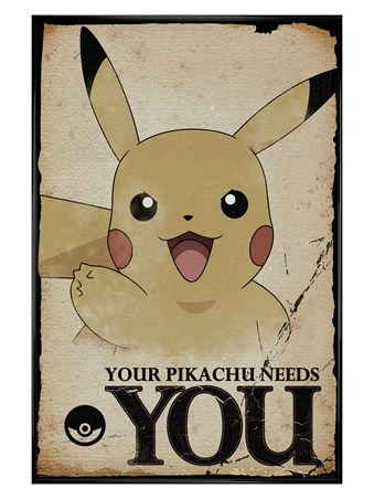 Gloss Black Framed Pikachu Needs You - Pokemon