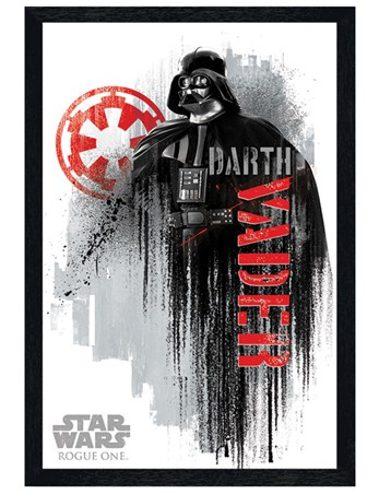 Black Wooden Framed Darth Vader Grunge - Star Wars Rogue One