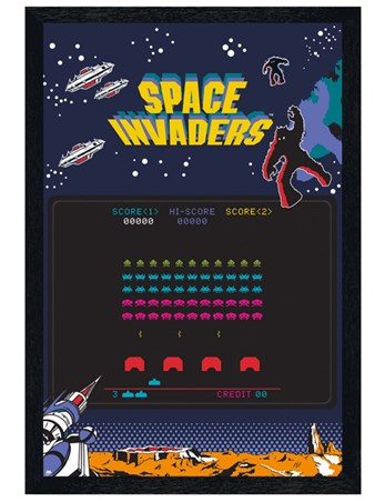 Black Wooden Framed Highscore Screen - Space Invaders