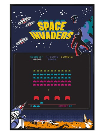 Gloss Black Framed Arcade Screen - Space Invaders