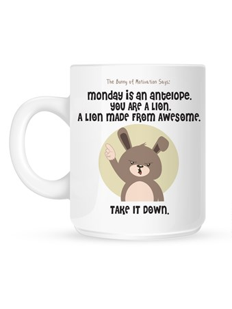 Framed Monday Is An Antelope - The Bunny of Motivation